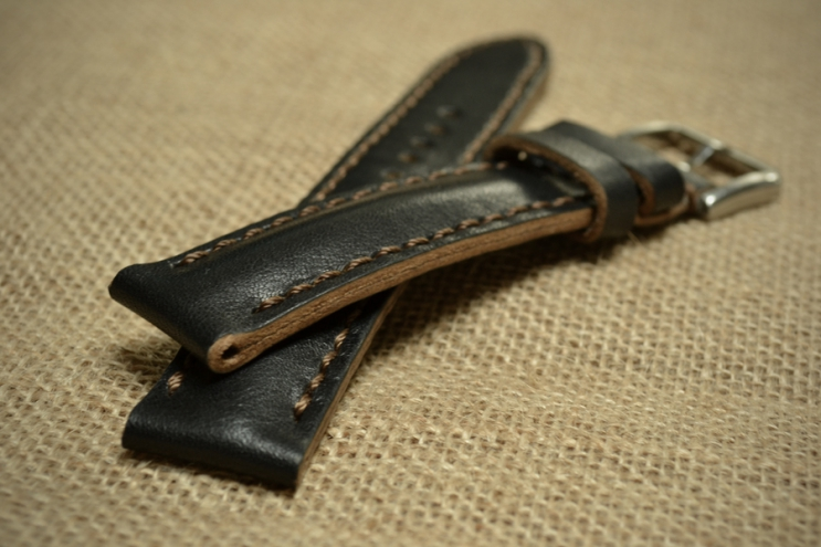 Black watch strap with brown stitching for Strela Chronograph