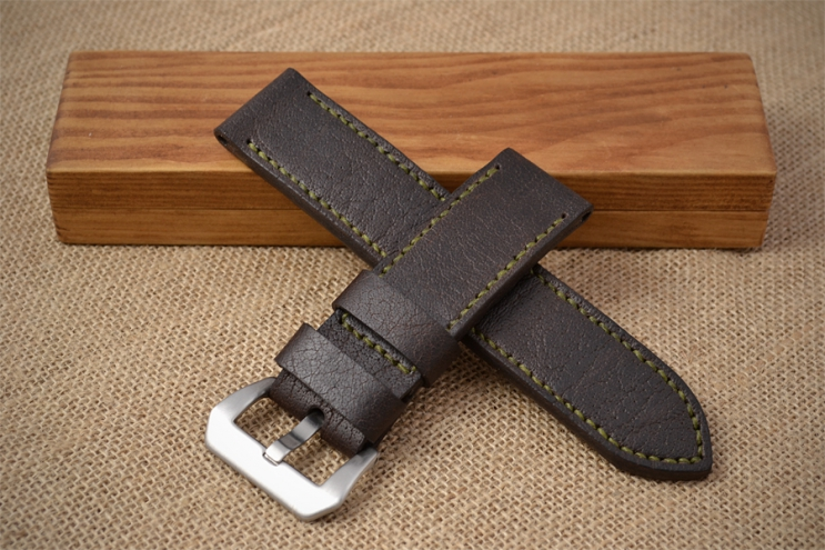 Brown watch strap with olive green stitching for Panerai